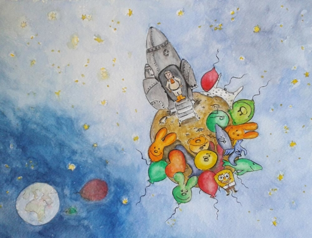 Balloons on the moon, watercolor 29,7x21 cm