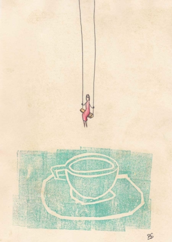 Woman on the swing 13x18cm